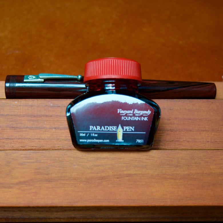 Red Ripple Scriptorium Pens Custom (IM) filled with Paradise Pen Vineyard Burgandy