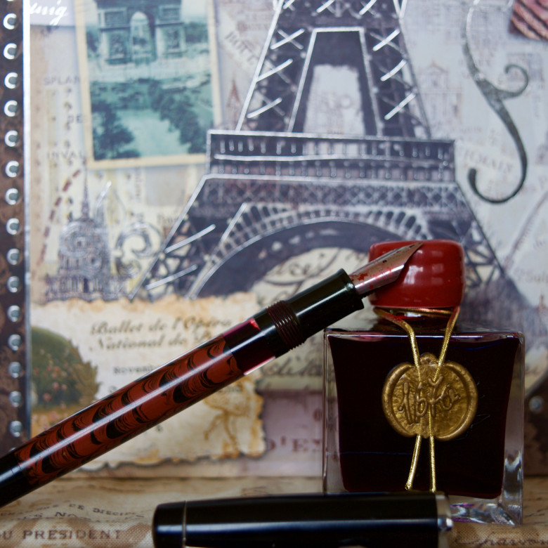 Dixie #10 Red Rebellion Noodler's Konrad Ebonite (IM) filled with J. Herbin 1670 Rouge Hematite