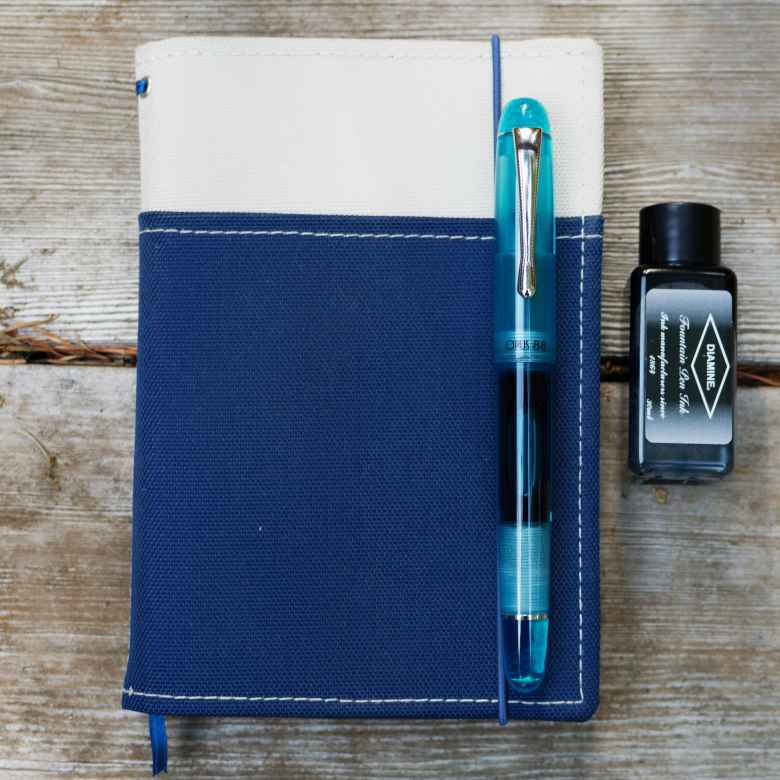 Blue Opus 88 Picnic (Fine) filled with Diamine Aqua Blue