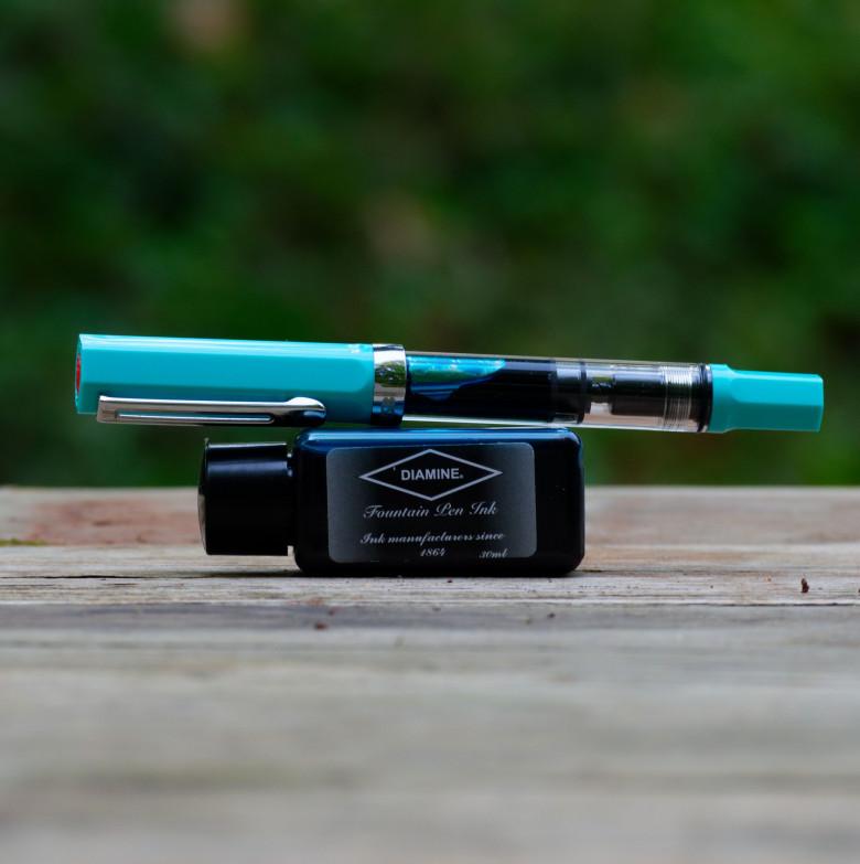 Turquoise TWSBI ECO (Fine) filled with Diamine Aqua Lagoon