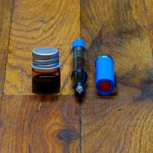 Blue TWSBI ECO-T IF filled with Birmingham Fort Pitt Blockhouse Sepia