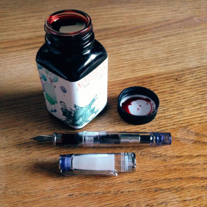 Blue Pilot Prera (Fine) filled with Noodler's Park Red