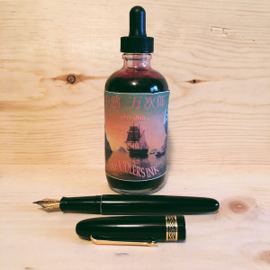 Black Italix Parson's Essential 0.65mm CI filled with Noodler's Whaleman's Sepia (Manjiro Nakahama)