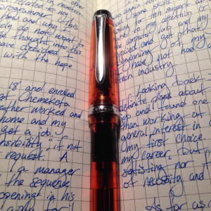 Orange Pilot Custom Heritage Fine filled with Private Reserve DC Supershow Blue