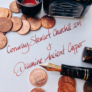 Walnut Conway Stewart Churchill IM filled with Diamine Ancient Copper